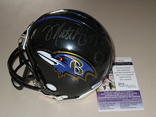 Matt Birk #77 Autographed Baltimore Ravens Mini Helmet (JSA COA)