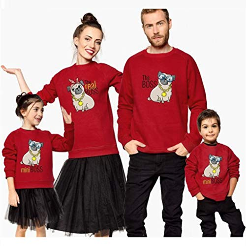 Sunshinehomely Mommy & Dad &Me Christmas Sweatshirt Shirt Women Long Sleeves Dog Print Tops Blouse (L, Mommy)