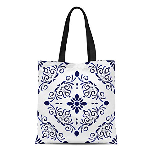 Semtomn Canvas Tote Bag Shoulder Bags Baroque Damask Floral Flower Blue and White Vases Simple Women's Handle Shoulder Tote Shopper Handbag ()