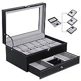 BEWISHOME Watch Box Organizer Case 12 Mens Jewelry Display Drawer w/ Adjustable Tray Glass Top Black PU Leather SSH02B