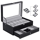 BEWISHOME Watch Box Organizer Case 12 Mens Jewelry Display Drawer w/ Adjustable Tray Glass Top Black PU Leather SSH02B