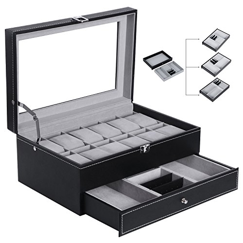 BEWISHOME Watch Box Organizer Case 12 Mens Jewelry Display Drawer w/ Adjustable Tray Glass Top Black PU Leather - Which Clothes Can Through Sunglasses See