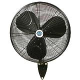 24'' Durafan Indoor/Outdoor Oscillating Wall Mount Fan - Black
