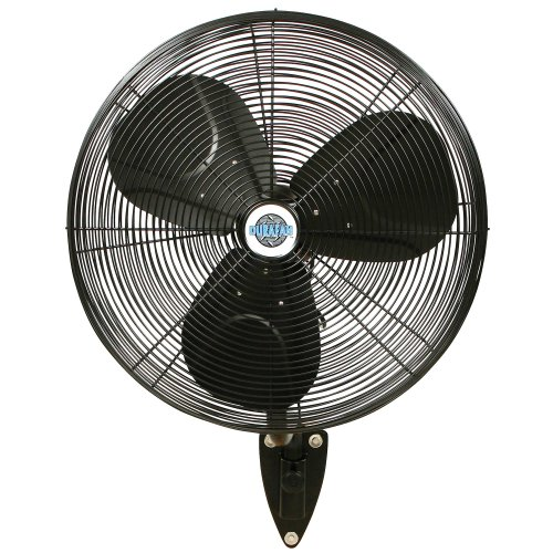 """24"""" Durafan Indoor/Outdoor Large Oscillating Wall Mount Fan - Black - 32"""" x 26"""" Mounting Space Needed"""