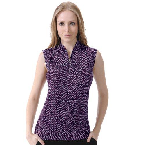 (Monterey Club Ladies' Dry Swing Glitzy Animal Print Piping Sleeveless Shirt #2623 (Eggplant/Black, Small))