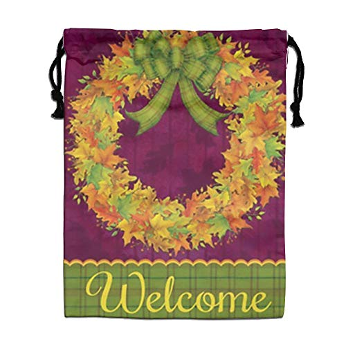 Custom Drawstring Bag,Welcome-Fall-Leaves Holiday/Party/Christmas Tote Bag 15.7(H)x 11.8(W) in by DFGTLY