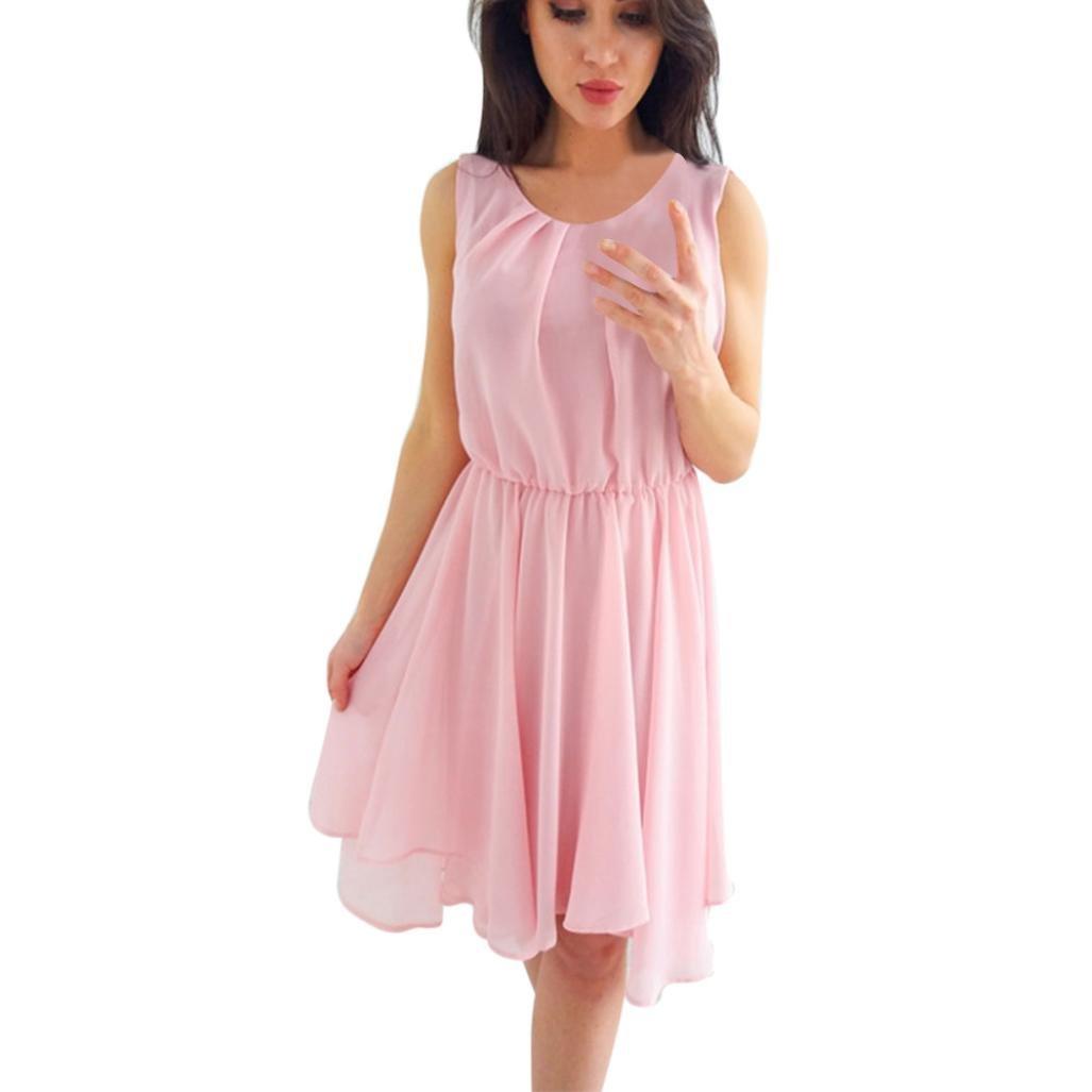 Women's Chiffon Sleeveless Ruffle Solid O-Neck Evening Party Casual Loose Mini Dress Beach (M, Pink)