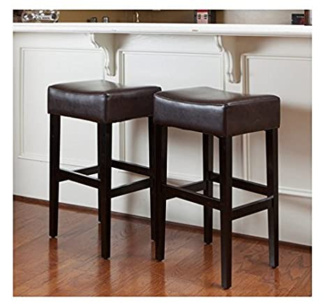 Christopher Knight Home Lopez Brown Leather Backless Bar Stools (Set of 2) & Amazon.com: Christopher Knight Home Lopez Brown Leather Backless ... islam-shia.org