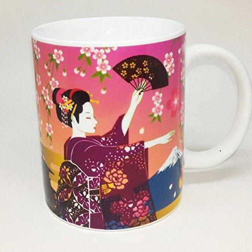 Heat changes Kimono woman to nude Japan Mug 15Oz ceramic mug (Japanese fan)