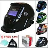 Leopard LEO-WH86 Solar Powered + Auto-Darkening + Grinding Function + 9-13 Shade Welding Helmet Mask (Black) with 5 Free Spare Lenses