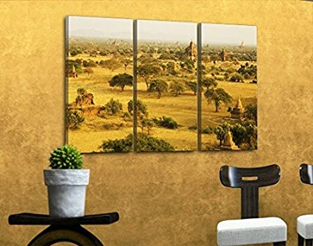 Canvas Art Bagan In Myanmar Triptych I, canvas pictures, canvas wall ...