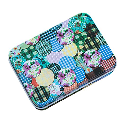 XENO-Portable Iron Tin Jewelry Pill Card Case Box Storage Bag Gift Decor Useful BD(dots - Case Velvet Sunglasses Folding