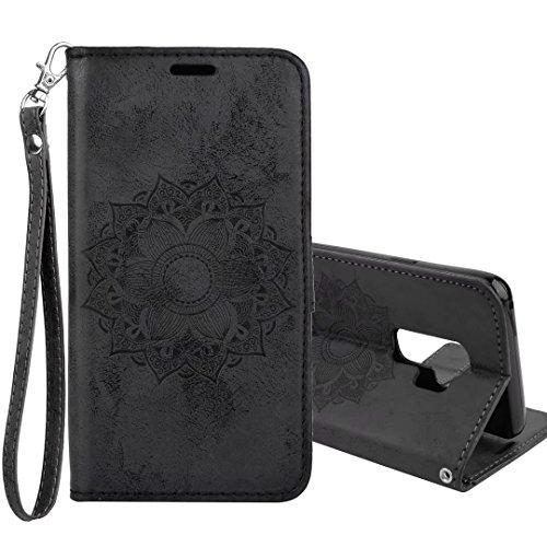 Galaxy S9 Plus Hülle,COWX Handyhülle für Samsung Galaxy S9 Plus Hülle Leder Flip Case Brieftasche Etui Schutzhülle für Samsung S9 Plus Tasche Cover Datura Blumen (Schwarz)