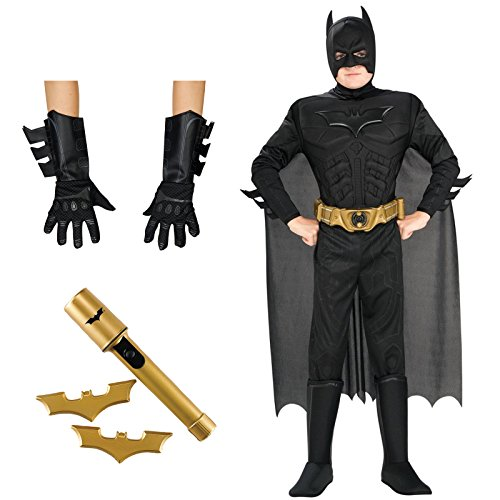 Batman Costume Bundle Set - Toddler 3T-4T - Includes Costume, Gloves, and Batarangs