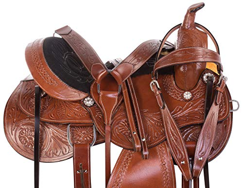 Western Riding Saddle Set - AceRugs Western Parade Show Pleasure Trail Horse Leather Saddle TACK Set 15 16 17 18 (17)