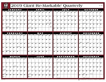 Re Markable 2019 Giant Quarterly Calendar Amazon Ca Office Products
