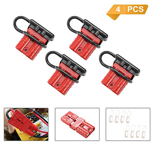 BUNKER INDUST Battery Quick Connect Wire Harness Plug Kit 50A 6-10 Gauge Battery Cable Quick Connect Disconnect Plug for Winch Auto Car Trailer Driver Electrical Devices,4 Pcs,Red -