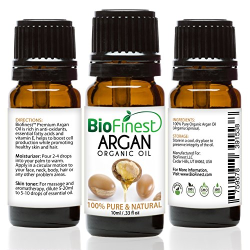 BioFinest Argan Oil for Hair, Face and Skin, 00% Pure, Natural, Cold Pressed, Certified Organic Moroccan Virgin Oil, Anti-Aging, Anti-Oxidant Moisturizer (10 mL)