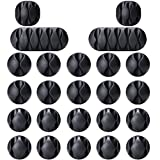 Tools & Hardware : OHill Pack of 24 Self Adhesive Black Cable Clip Holders for Organizing Cable Cords Home and Office