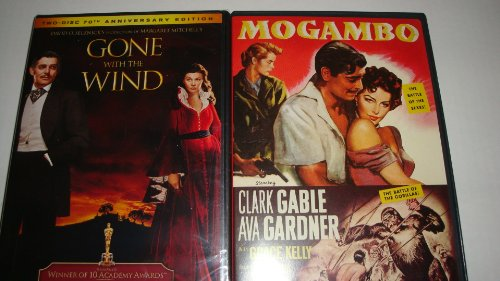 Gone with the Wind DVD (1939) 2-disc 70th Anniversary Collection & (1953) Mogambo DVD: Clark Gable Classic Film 2-pack