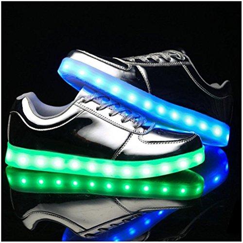 USB Men Shoes JUNGLEST® small Fl Present Women towel Light LED Up Silver Charging xFwUfnCqfH
