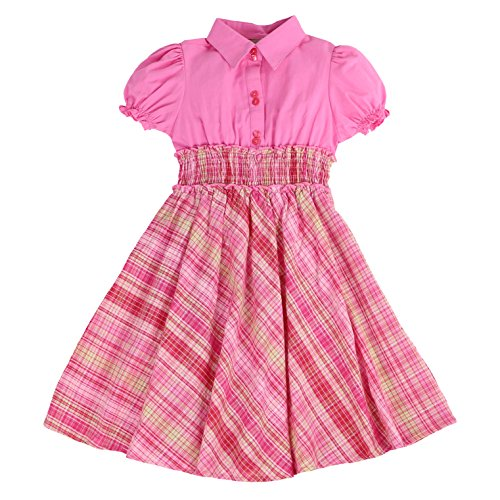 Santa Maria Dress - MARIA ELENA - Toddlers and Girls Anna Belle Plaid Light Cotton Dress in Pink 3T