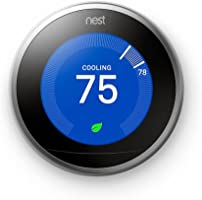 Nest (T3007ES) Learning Thermostat, Easy Temperature Control for Every Room in Your House, Stainless Steel (Third...