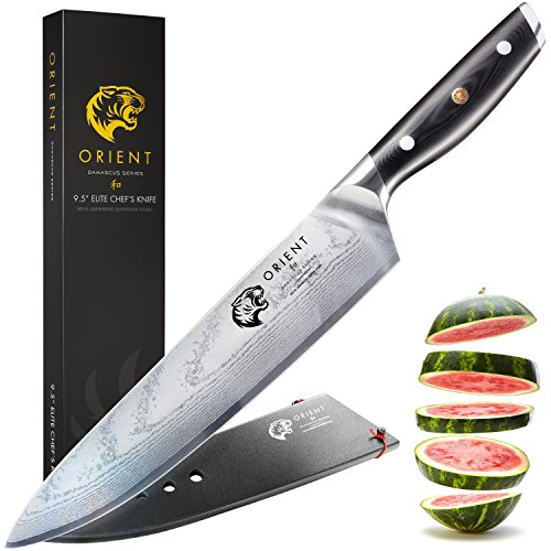 Orient Japanese Damascus Steel 9.5 inch Chef Knife VG10 VG-10 67 Layer Large Chef's Cooks Knives With Gift Box and Sheath Ultra Sharp, Best Japan Steel with Cleaning Cloth Cooking Gifts by ORIENT
