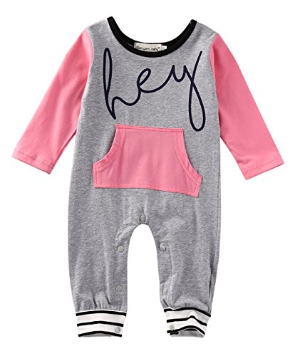 Baby Girls Funny Saying Rompers Toddler Footless Coveralls Jumpsuit Clothes (18-24M, gray)