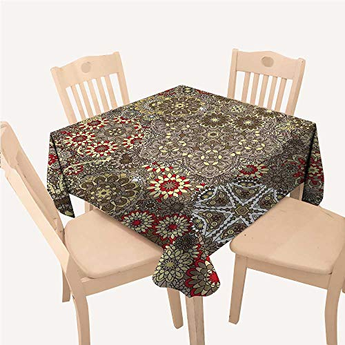 WilliamsDecor Batik Reusable Tablecloth Vintage Paisley Forms with Batik Style Flowers and Circles Moroccan Persian PatternsMulticolor Small Square Tablecloth W36 xL36 inch