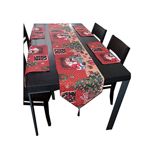 hqdeal table runner and placemats set christmas weave vintage design with tassels for festival home dining table decoration 4 seater red