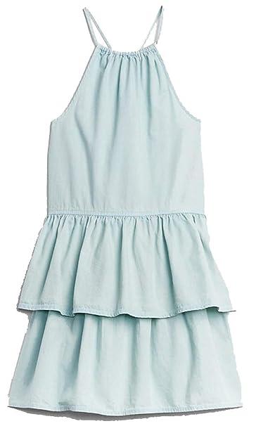 5576a24808bb Amazon.com: GAP Kids Blue Chambray Denim Halter Tier Dress Large 10 ...