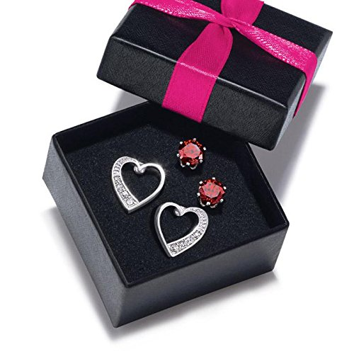 Avon Red CZ and Heart Stud Set in Gift Box - Red - One Size (Cz Avon)