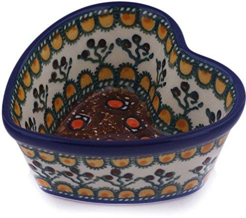 - Polish Pottery 3½-inch Heart Shaped Bowl made by Ceramika Artystyczna (Cranberry Medley Theme) Signature UNIKAT + Certificate of Authenticity