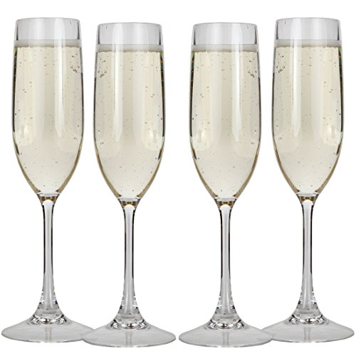 Lily's Home Unbreakable Acrylic Champagne Glasses, Made of Shatterproof Plastic and Ideal for Indoor and Outdoor Use, Reusable, Crystal Clear (5 oz. Each, Set of 4) by Lilyshome