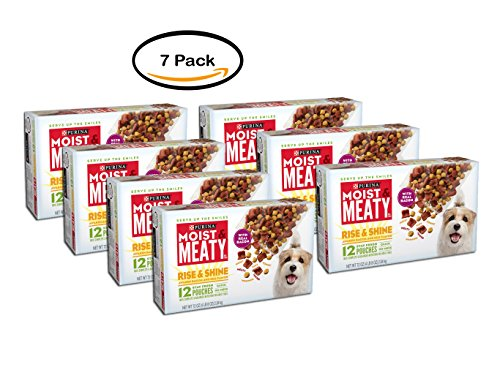 PACK OF 7 - Purina Moist & Meaty Rise & Shine Awaken Bacon & Egg Flavor Dog Food 12 ct Box