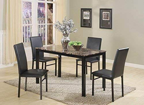 Roundhill Furniture 5 Piece Citico Metal Dinette Set with Laminated Faux Marble Top, Black by Roundhill Furniture