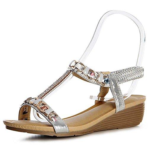 Sandales Sandalettes Sandalettes Sandales Topschuhe24 Argent Topschuhe24 Femmes Argent Femmes P7F4Hw