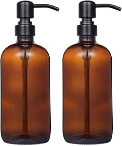 2 Pack Thick Amber Glass Pint Jar Soap Dispenser with Matte Black Stainless Steel Pump, 16ounce Boston Round Bottles Dispenser with Rustproof Pump for Essential Oil, Lotion Soap