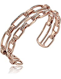 Womens Iconic Link Pave Open Double Cuff Bracelet