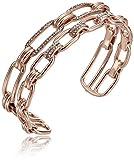 Michael Kors Brilliance Iconic Links Rose Gold-Tone Open Cuff Bracelet