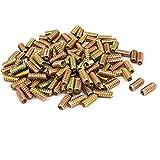 uxcell M6 x 25mm Wood Furniture Insert Screw E-Nut Bronze Tone 200pcs