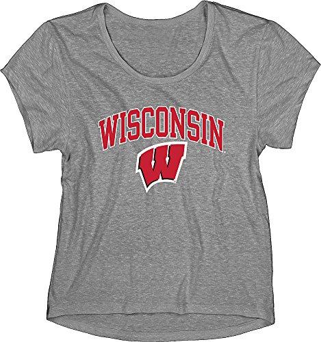 Shirt Gray Wisconsin - Elite Fan Shop Wisconsin Badgers Womens Triblend Tshirt Gray - L