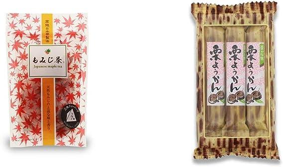 [2点セット] もみじ茶(7パック入)・スティックようかん[栗](50g×3本)