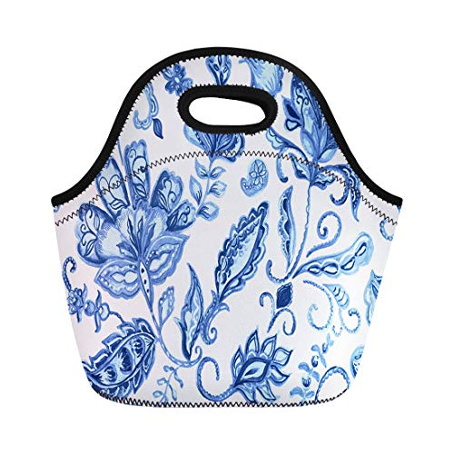 Semtomn Lunch Tote Bag Watercolor Blue Paisley Water Color Flores Elegant Pattern Ceramic Reusable Neoprene Insulated Thermal Outdoor Picnic Lunchbox for Men Women