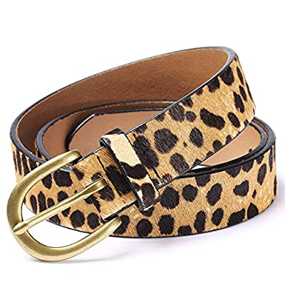 Leopard Print leather Haircalf Women's Belt for jeans/Casual pants Ladies Cheetah Waistband-11/8''