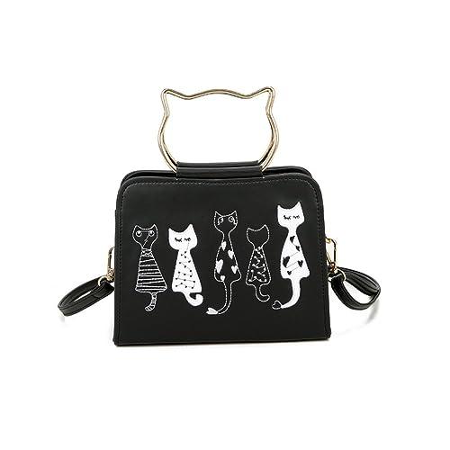 Otomoll Le Nouveau Sac À Main Coréen Cute Kitten Bangalor Sac Bandoulière Sac Bandoulière All-Match,Black