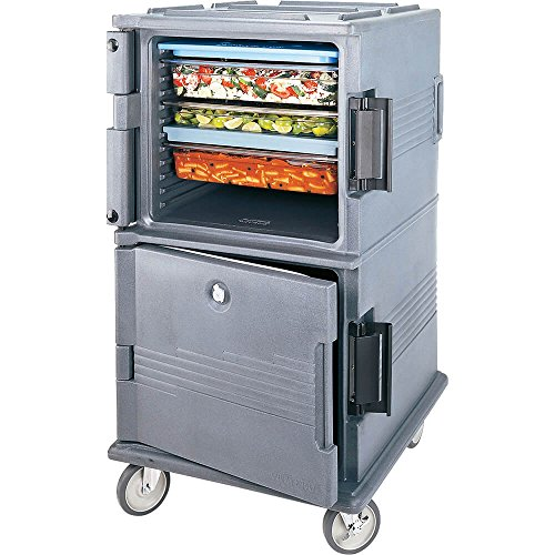 Cambro Double Compartment Food Carrier, 24-Pan Capacity, Lockable Granite Gray UPC1600SP-191 - Granite Gray Food Transport Cart