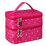 Double Layer Traveling Makeup Bag Small Dots Travel Toiletry Cosmetic Bag with Mirror -Small size(Rose)
