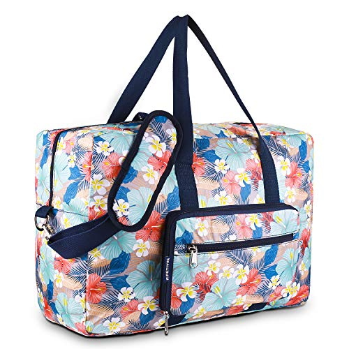 Foldable Duffel Bag for Travel Luggage Flight Lady Girls Cute Carry On Weekend Tote Bag(Blue Flower) ()